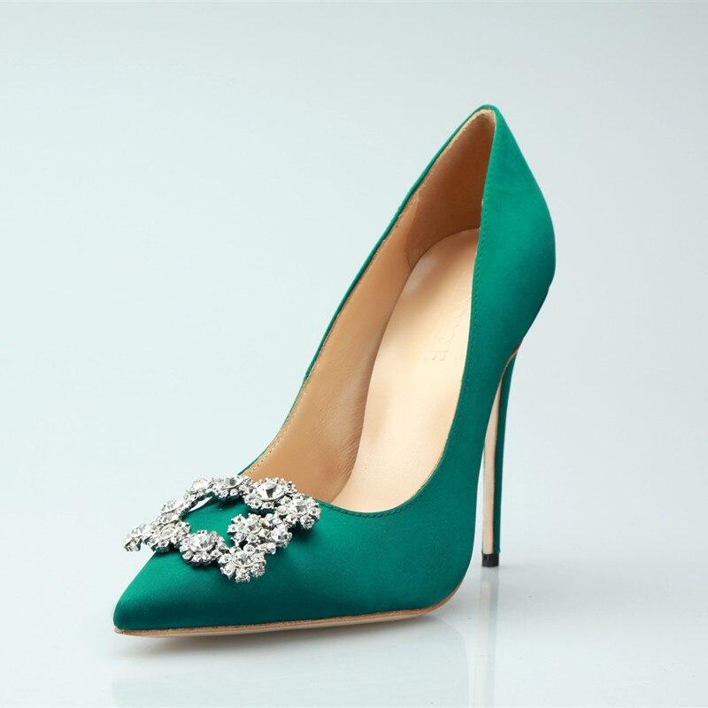 Zapatos mujer 2019 frauen schuhe grün silk high heels strass frauen pumpt quadrat schnalle kristall dünne fersen hochzeit schuhe frau-in Damenpumps aus Schuhe bei  Gruppe 2