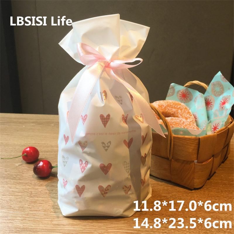 LBSISI Life 10pcs/lot Love Heart White Plastic Drawstring Bag Cookie Candy Bag Birthday Party Wedding Decor Gift Bags