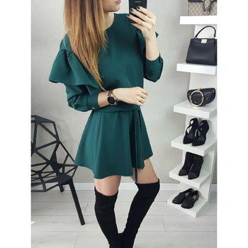 2018 Spring Women Fashion Vintage Dress O-neck Ruffles Sleeves  dresses Party Long sleeve female Vestidos Chemisier