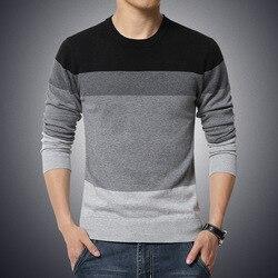 Suéter Casual de los hombres cuello redondo a rayas de ajuste Delgado Knittwear 2019 otoño suéteres para hombres Pullover pulóver hombres Pull Homme M-3XL