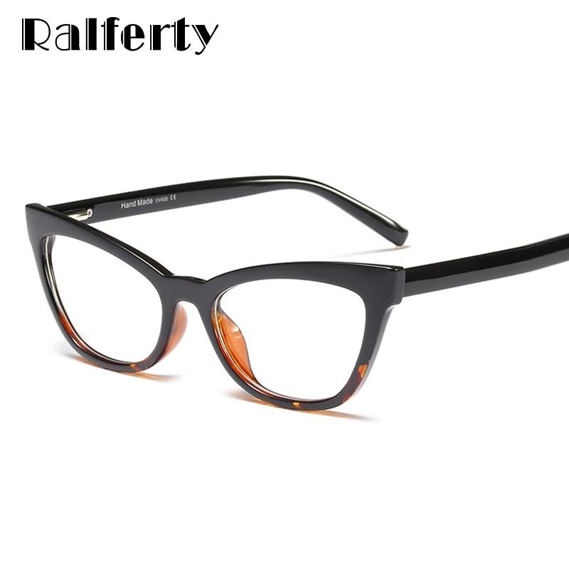 Ralferty Cat Eye Glasses Women Retro Transparent Clear Myopia Optic Frame Eyeglasses 2019 Eyewear Spectacle Oculo De Grau F95175