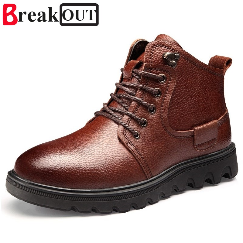 цена на Break Out Men Boots Snow Boots Genuine Leather Quality Lace Up Men Winter Boots High top Waterproof Warm With Fur&Plush