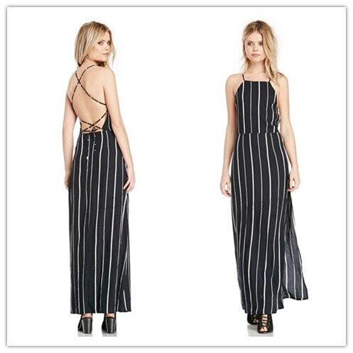2014 New Sexy Spaghetti Strap Dress Fashion Women's Sleeveless Black White Striped Backless Slit Long Dress Ladies Vintage Dress