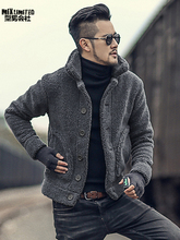 Men Winter warm padded furry slim casual jacket knitwear men plush collar woolen solid new design knitted fur cardigan