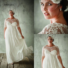 Plus Size Wedding Dress 2019 Chiffon Boho Lace Appliques Beach Bridal Empire Short Sleeves Cheap High quality Up