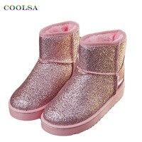 2017 ניו חורף נשים שלג מגפי Coolsa בלינג בינג פאייטים נעלי החלקה שטוחים בפלאש חם גבירותיי אופנה נוצצת מגפיים קצרים