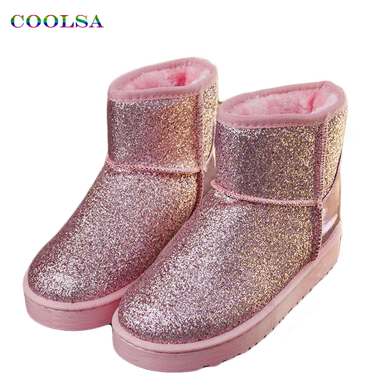 Coolsa 2017 New Winter Women Snow Boots Bling Bing Sequins Warm Plush Flat Non-Slip Shoes Fashion Sparkling Ladies Short Boots