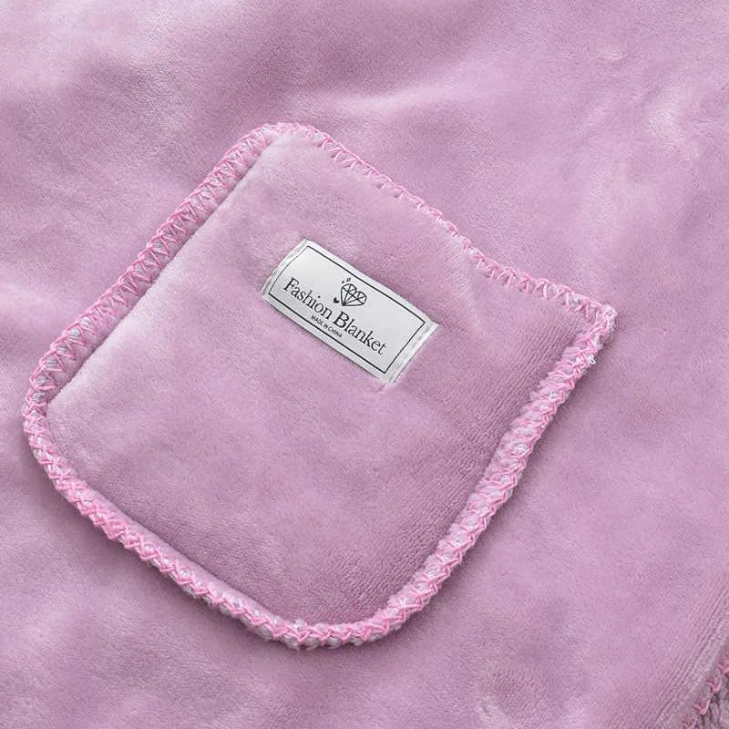 2019 nueva manta funcional portátil polar Coral aire condicionado doble piel de cordero bolsillo sudadera Oficina mantón Manta