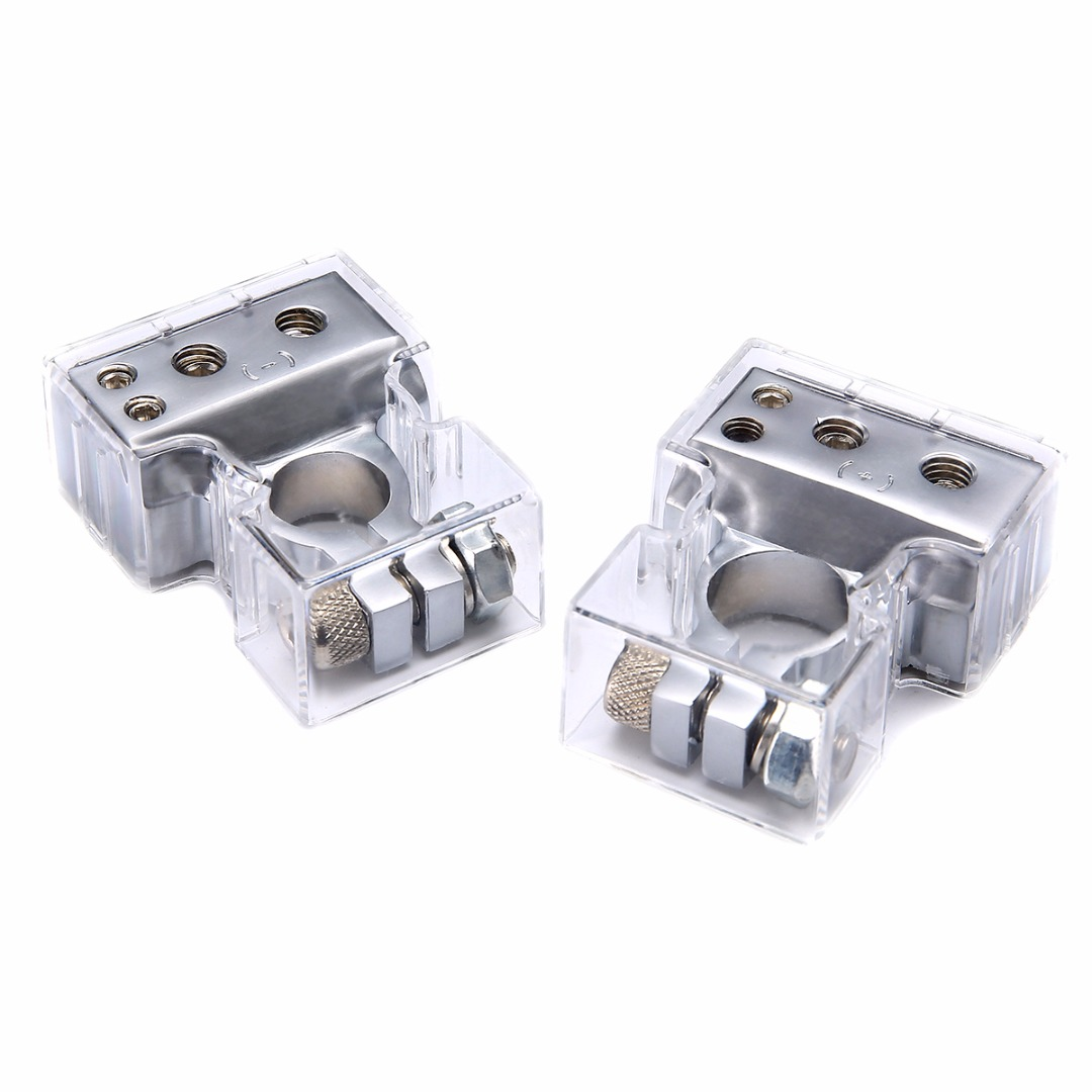 1 Pair Car Silver Plated Battery Terminal Set 2 4 8 Gauge AWG Positive & Negative Battery Clamp Terminal with Cover Mayitr 1 pair practical silver car battery terminal set 2 4 8 gauge awg positive