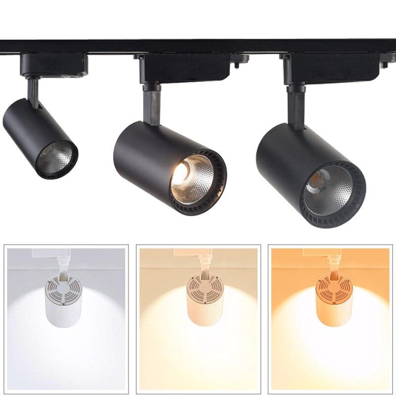 Dimmable 10 W 15 W 20 W COB LED luz de la pista llevó la lámpara carril Focos led iluminación para tienda iluminación del punto del almacén AC110 220 V