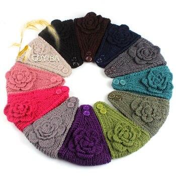 Goyiba 11 Colores Invierno De Las Mujeres Solid Flor Crochet Punto - Diadema-ganchillo