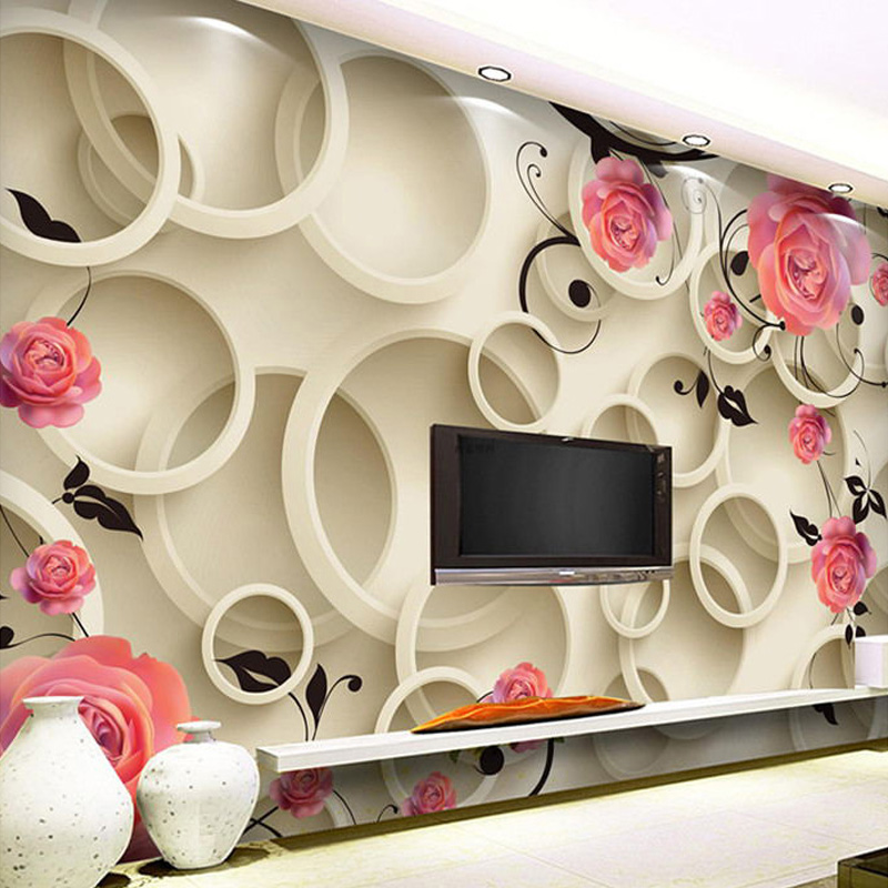 Free Shipping High Quality 3D HD Modern Minimalist Fashion Wall Murals Red Rose Cycle Pattern For Living Room Papel De Parede