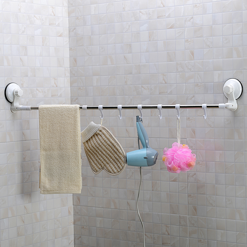 65 110cm long adjustable towel bar with suction cup tableware cloth corner 6 hang hooks storage. Black Bedroom Furniture Sets. Home Design Ideas