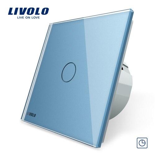 Livolo ЕС стандартный таймер(30 с задержкой), AC 220~ 250 В, 3 цвета стеклянная панель, светильник сенсорный выключатель+ светодиодный индикатор, C701T-1/2/3/5 - Цвет: Blue