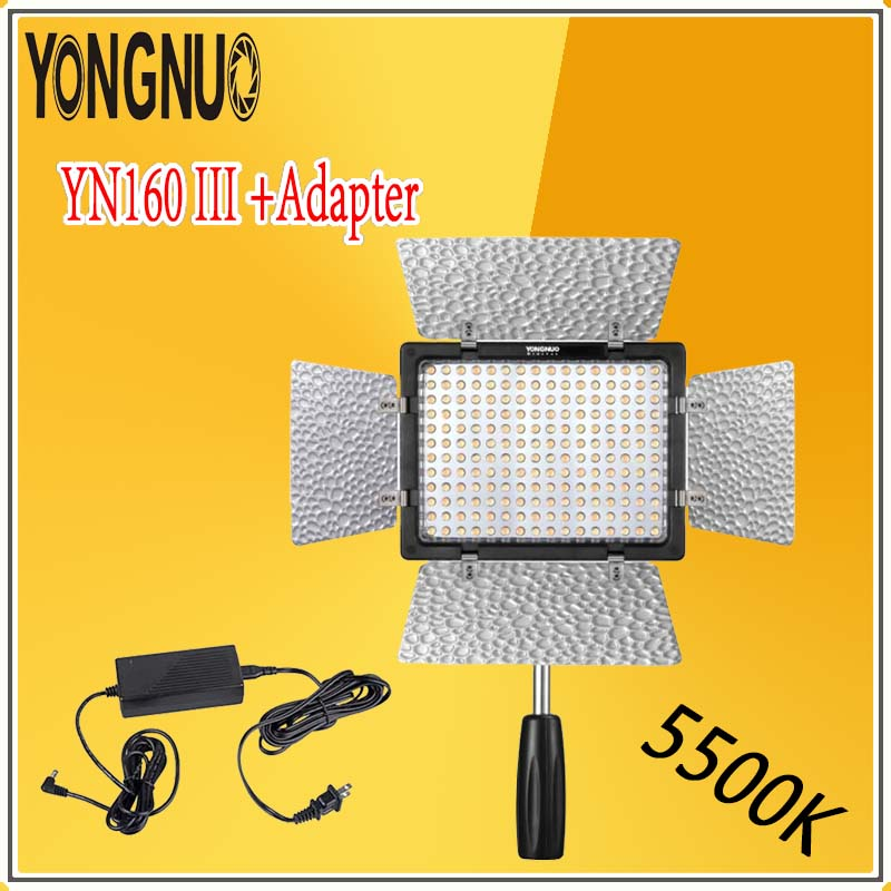 YONGNUO Optimal Kit YN160 III 5500K CRI95 160 LED Video Light Lamp + AC DC Power Adapter For Canon Nikon Sony DSLR & Camcorder ac power adapter dc 8 4v 1 5 1 7a original for sony camera camcorder ac l200b l25b lcc77