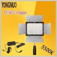 YONGNUO Optimal Kit YN160 III 5500K CRI95 160 LED Video Light Lamp + AC DC Power Adapter For Canon Nikon Sony DSLR & Camcorder