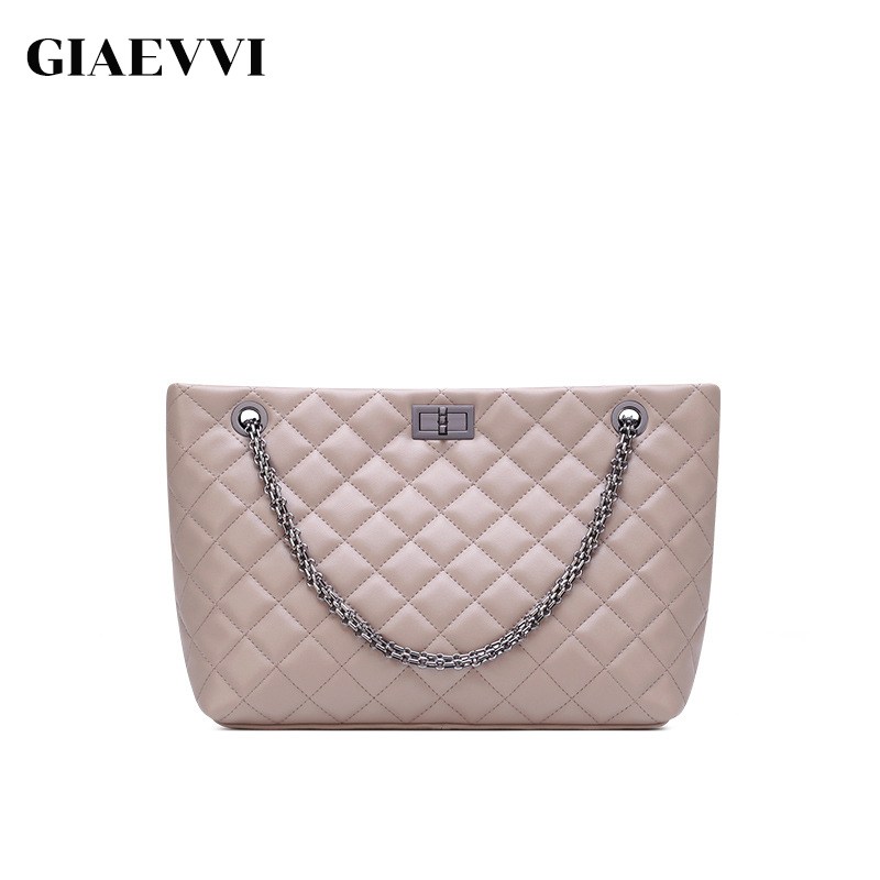 GIAEVVI Luxury Handbag Brand Women Bags Designer Split Leather Tote Bag Chain Shoulder Bags Crossbody for Lady High Capacity new split leather snake skin pattern women trunker handbag high chic lady fashion modern shoulder bags madam seeks boutiquem2057