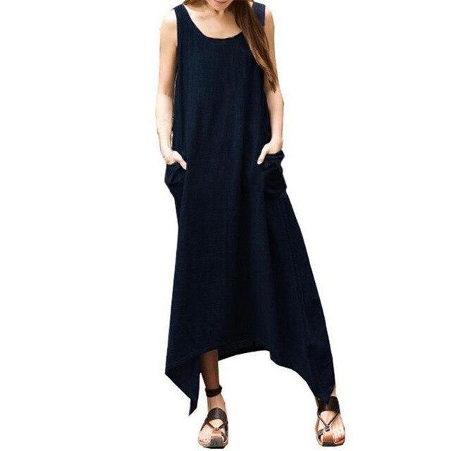 daab6a87801 2017 sommer Sommerkleid Frauen Kleid Sleeveless Weste Asymmetrische Säume  Midi Tunika Casual Kleider Vintage Sexy Mode