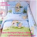 Promoción! 6 / 7 unids cuna ropa de cama ropa de cama de algodón determinado del bebé del bebé Kit chico cuna, 120 * 60 / 120 * 70 cm