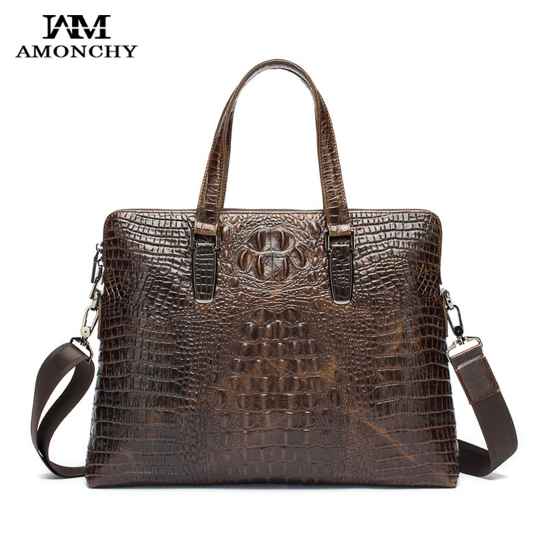 ФОТО AMONCHY 2016 Men's Genuine Leather Handbags Designer Brand Men Shoulder Bags Crocodile Business Bag For Male Fashion Totes HM29