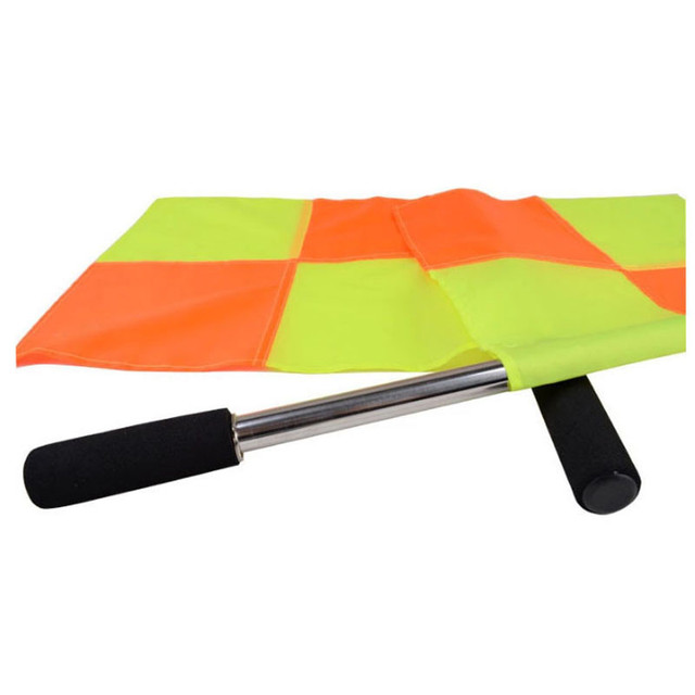 Portable 2 PC Soccer Referee Flag Referee Linesman Flag Outdoor Football Game Referee Equipment  Red and Yellow Quartered Flag