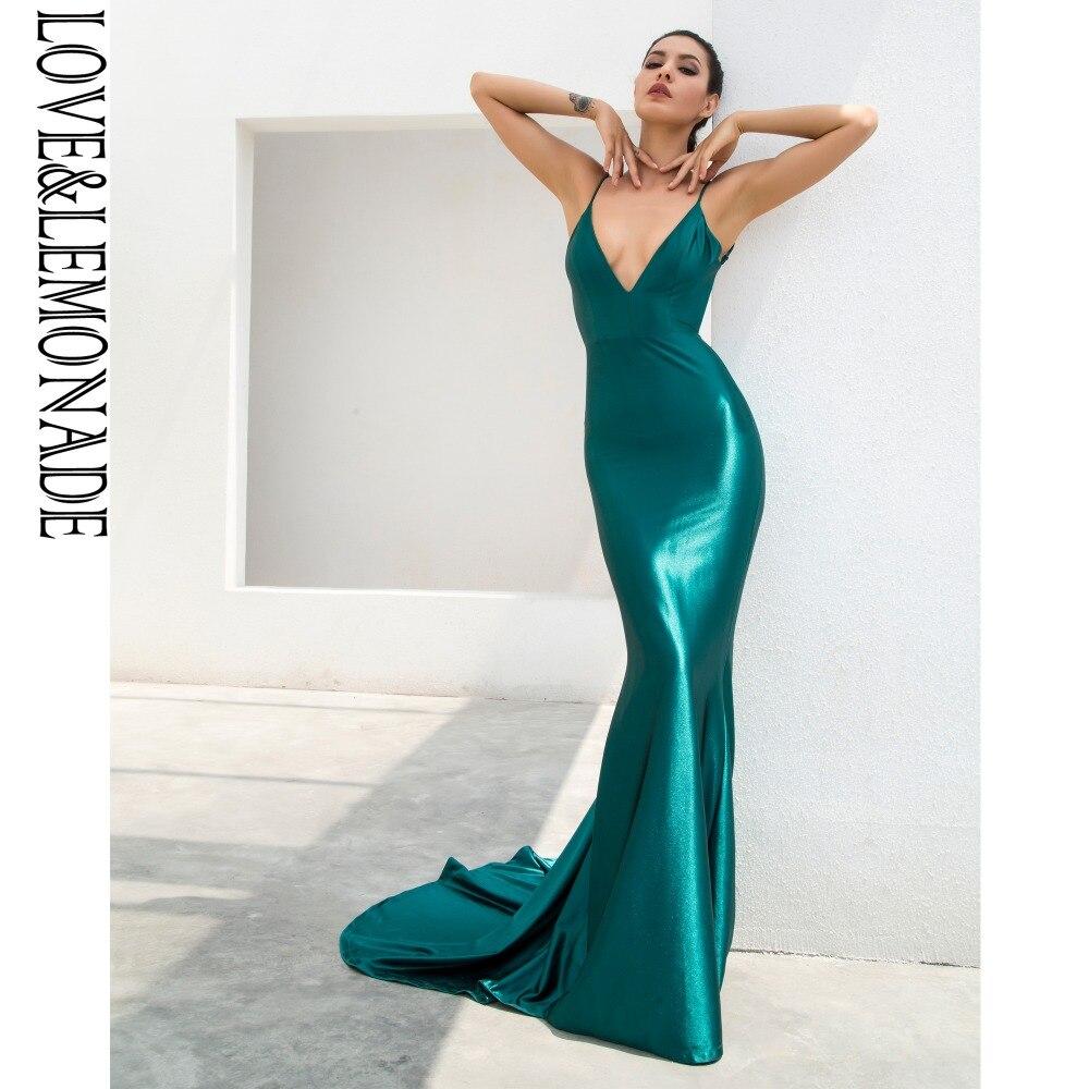 """Miłość i lemoniada. Zielony głęboki dekoltem w kształcie litery """"v"""" powrót Slim Flash materiał sukienka w dużym rozmiarze LM1099 w Suknie od Odzież damska na  Grupa 1"""
