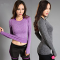 Quick dry sports fitness t-shirt  women gym clothing long sleeve elastic workout tops sportswear running shirts Yoga Clothing