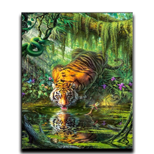 5d Diy paint diamond cross stitch 3d Diamond embroidery animal Square / Round restaurant room Tiger drinking water