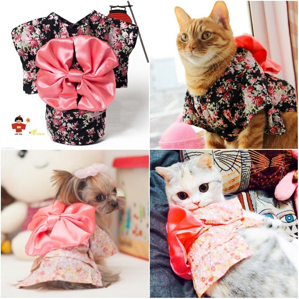 Estilo japão gato de estimação quimono pequena flor roupas para animais de estimação gato do cão quimono com grande bowknot vestir-se necessário para pequeno gato do cão