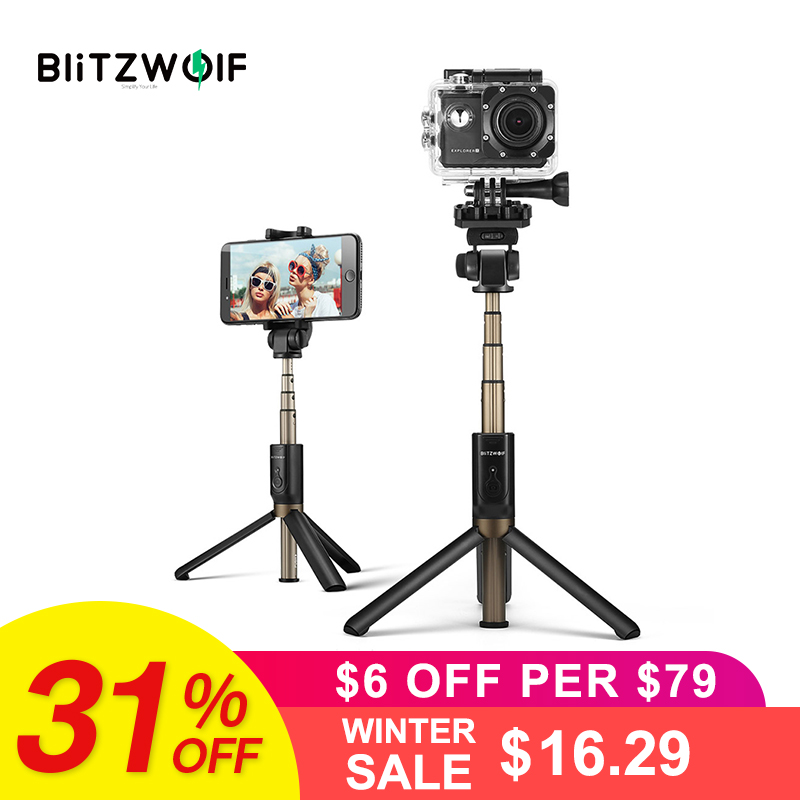 BlitzWolf 4 in 1 Kamera Stativ Bluetooth Selfie Stick Wireless Einbeinstativ Für Sport Kamera Für iPhone X 8 Smartphone Selfie sticks