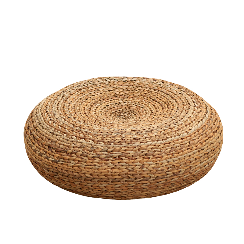 Handcrafted Eco-friendly Breathable Padded Knitted Straw Seat Cushion Banana Bark Pouf Ottoman Floor Seating Tatami Furniture