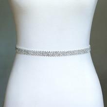 Dainty Rhinestone Belt, Crystal Bridal Sash, Wedding Sash