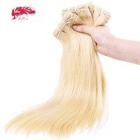 Ali Queen 3 шт. 613 блондинка Комплект Девы Прямо бразильский один донор человеческие молодая девушка волос Weave Расширение для салона