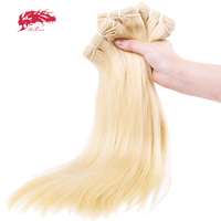Ali Queen 3 PCS 613 Blonde Bundle Virgin Straight Brazilian One Donor Human Young Girl Hair Weave Extension For Salon