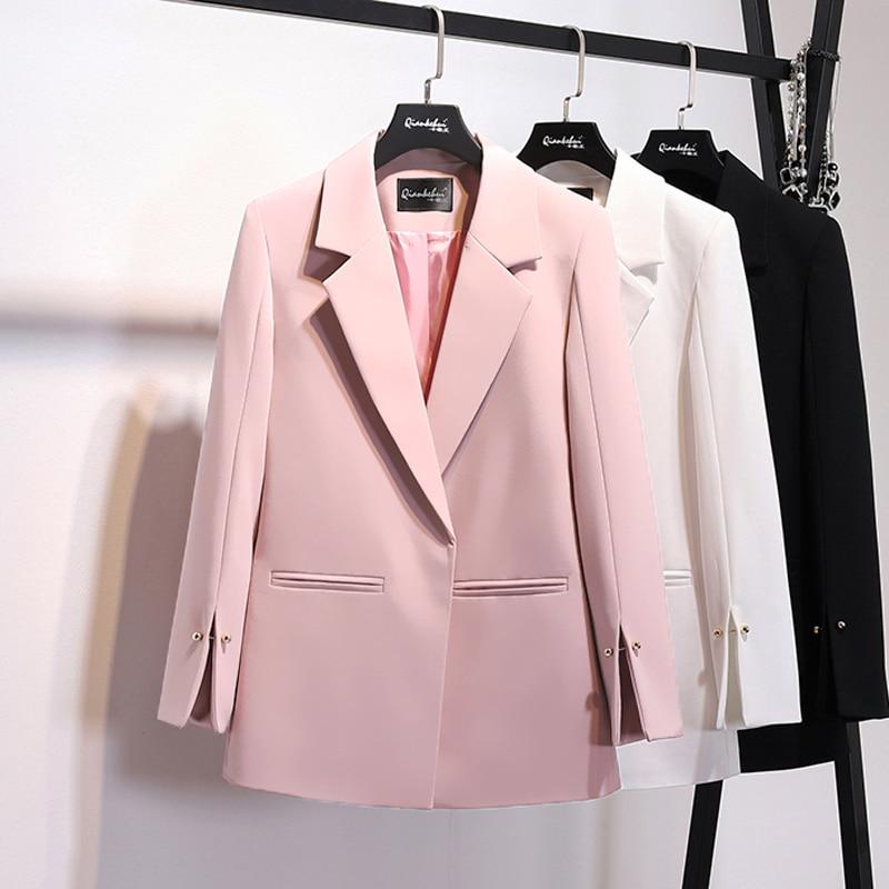 [EWQ] 2020 Spring New Pattern Coat Notched Collar Spilt Sleeve Pearls Decoration Pocket Ladies Fashion Blazer XXL BC031