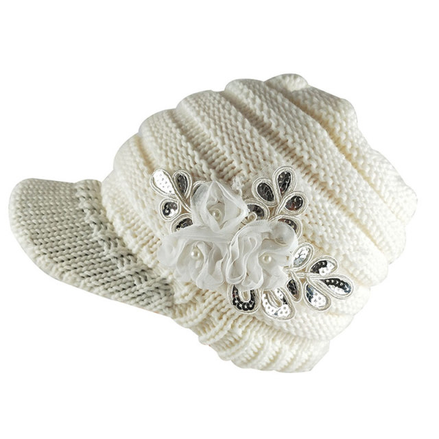 Women Winter Knit Hat with Brim Shabby Chiffon Roses Warm Striped Newsboy Cap  Black White b08813e151c
