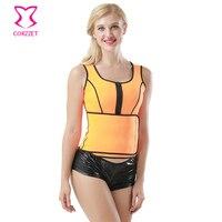 Corzzet Corzzet Trainer Cintura Látex Corpo Tops Laranja Neoprene Mangas Zipper Bodysuit Shapers Cintura Espartilhos das Mulheres