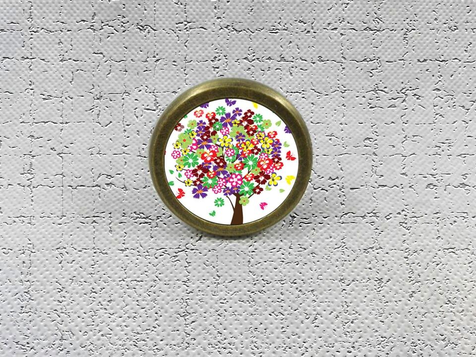 Spring Tree Drawer Knobs Vintage Style DIY Knobs Copper Sliver Bronze Modern Funiture Door Cabinet Handles Hardware css clear crystal glass cabinet drawer door knobs handles 30mm