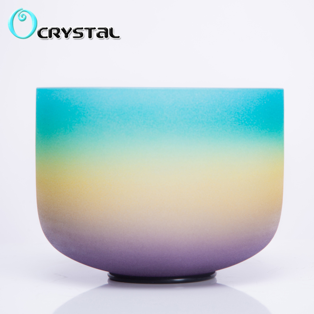 10Inch G Throat Chakra Rainbow Colored Frosted Quartz Crystal Singing Bowl for Meditation and Healing-in Bells & Chimes from Sports & Entertainment    1