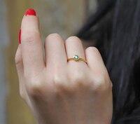 Чистый 999 Твердые 24 К кольцо из желтого золота/Lucky Для женщин зеленое кольцо/США Размеры 5