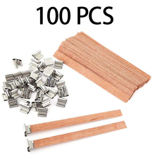 100Pcs 13cm Wood Candle Wicks with Iron Stand DIY Natural Candle Cores Practical Candle Wick  for Birthday Party Valentine's Day