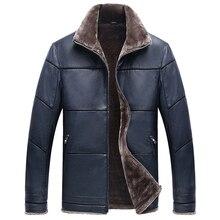 Plus Size 8XL Fur Leather Jacket For Men Winter Warm Mens Fur Coats Slim Fit Famous Brand Men's Fur Leather Suede Coat Male C177