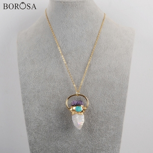 Image 5 - BOROSA 3 pezzi Color oro titanio AB Druzy cristallo quarzo punto con ametiste Chips & turchesi pendenti con ciondolo collana G1806