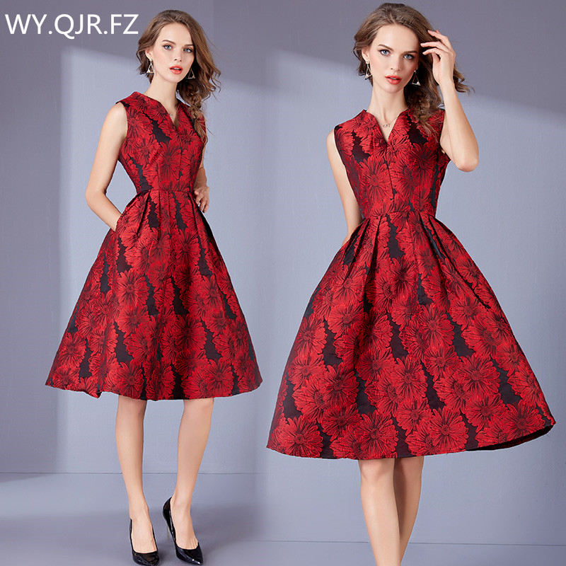 DRSZ6287#Autumn Embroidery jacquard short Red Bridesmaid Dresses wedding party dress prom gown wholesale fashion women clothing