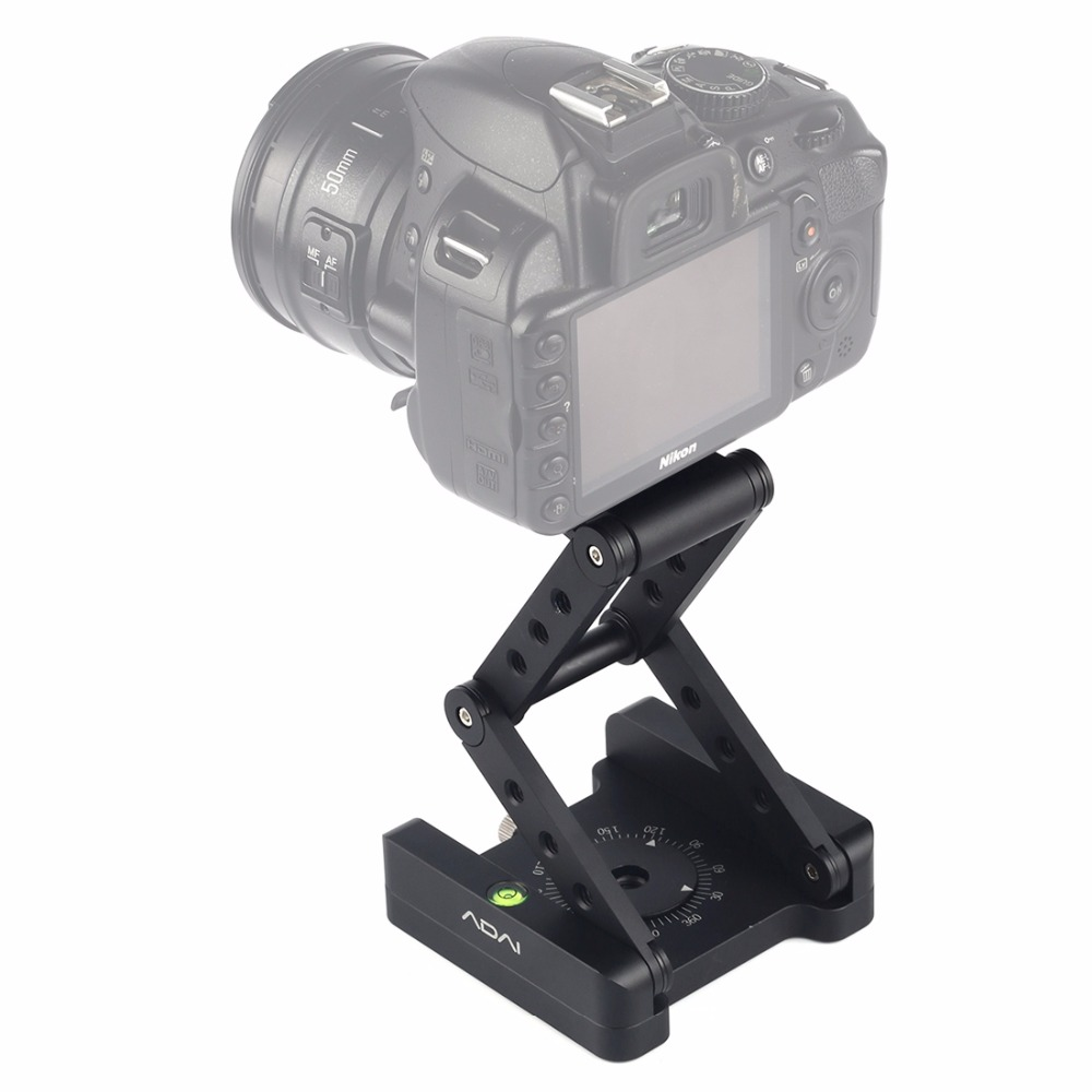 ADAI 360 Degree Rotation 3 Folding CNC Aluminum Quick Release Plate Holder Tripod M Flex Tilt