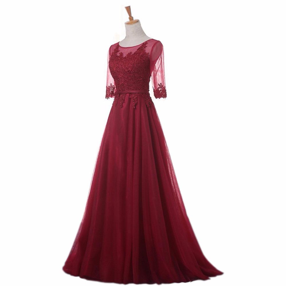 благородный вайс о-образным вырезом элегантный строки развертки поезд кружево вечернее платье дешевые выпускные платья одеяние де вечер платье с половину рукава