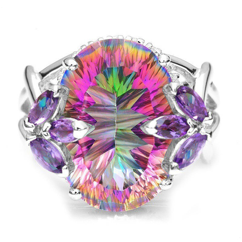 Vintage Jewelry Rings For Women Rainbow Cubic Zirconia Ring With Colourful Stones Silver Wedding Anniversary Ring R595
