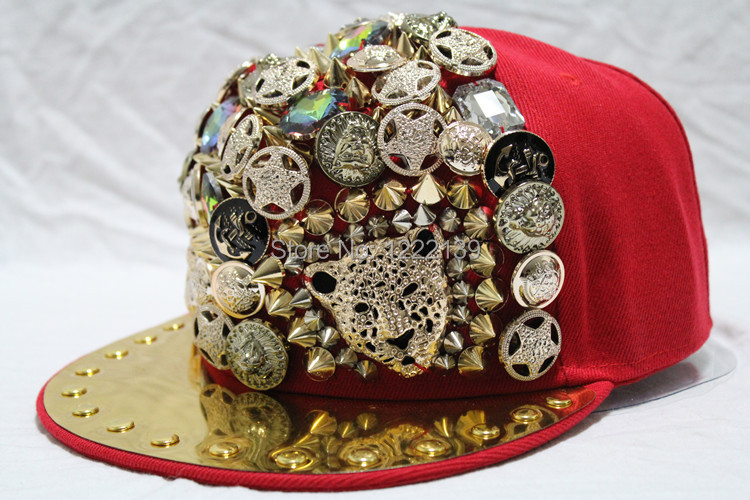 Fashion hip hop rivets spikes studded baseball cap hedgehog spiky flat  visor snapback hat-in Baseball Caps from Apparel Accessories on  Aliexpress.com ... 77f36dc23ce