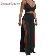 2018 Summer Women Two piece set Sexy Spaghetti Strap Crop Top and High Waist Split Long Wide Leg Pants Women's suit 2 piece set(China)