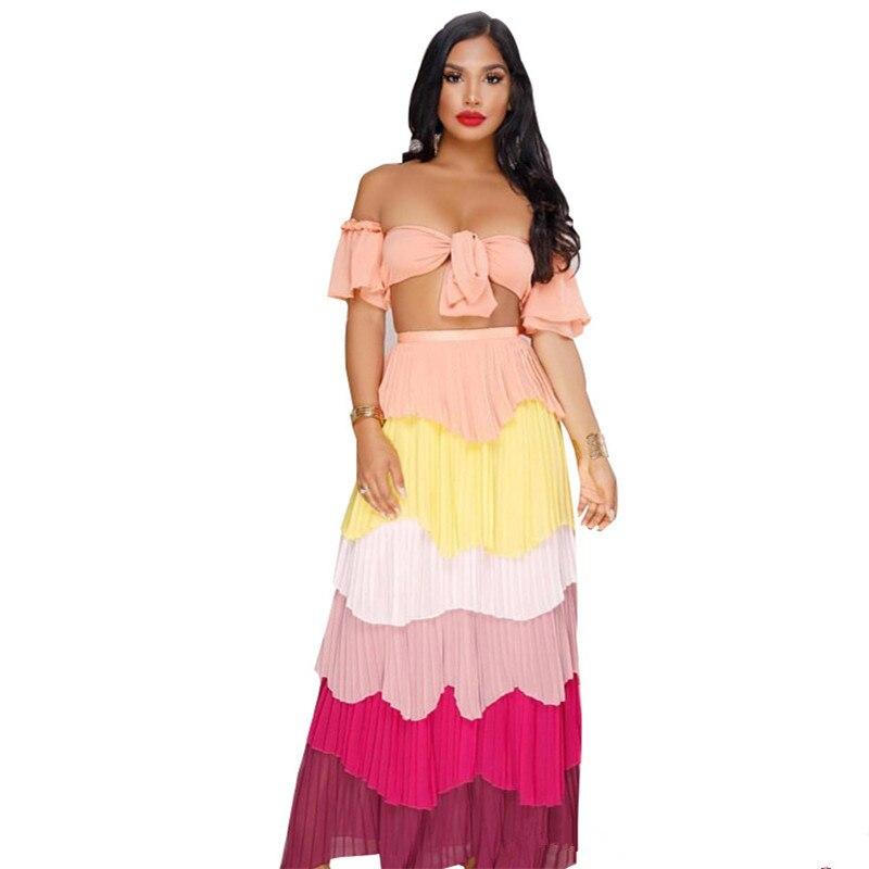 Autumn Women Boho Strapless Crop Top High Waist Long Skirt Two Piece Sets Sexy Clubwear Colorful Stripe Skirt 2 Piece Sets